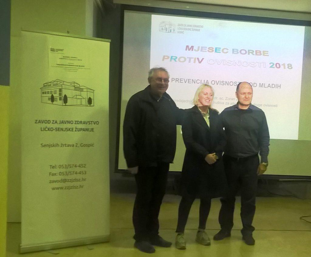 INFORMACIJA  o održanom predavanju povodom otvaranja  Mjeseca borbe protiv ovisnosti u Ličko-senjskoj županiji 2018. godine
