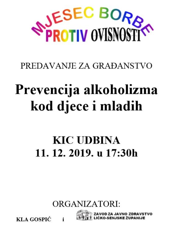 """""""Prevencija alkoholizma kod djece i mladih"""""""