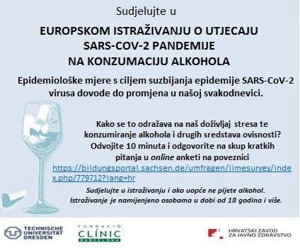 Diseminacija europskog istraživanja o utjecaju SARS-CoV-2 pandemije na konzumaciju alkohola